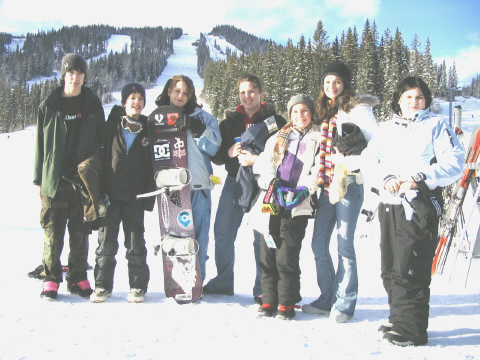 youth group on the ski hill